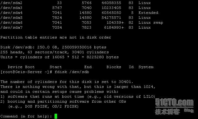 Linux下添加新硬盘,分区及挂载  Linux 建站  第2张