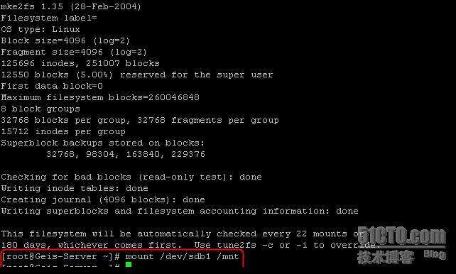 Linux下添加新硬盘,分区及挂载  Linux 建站  第10张