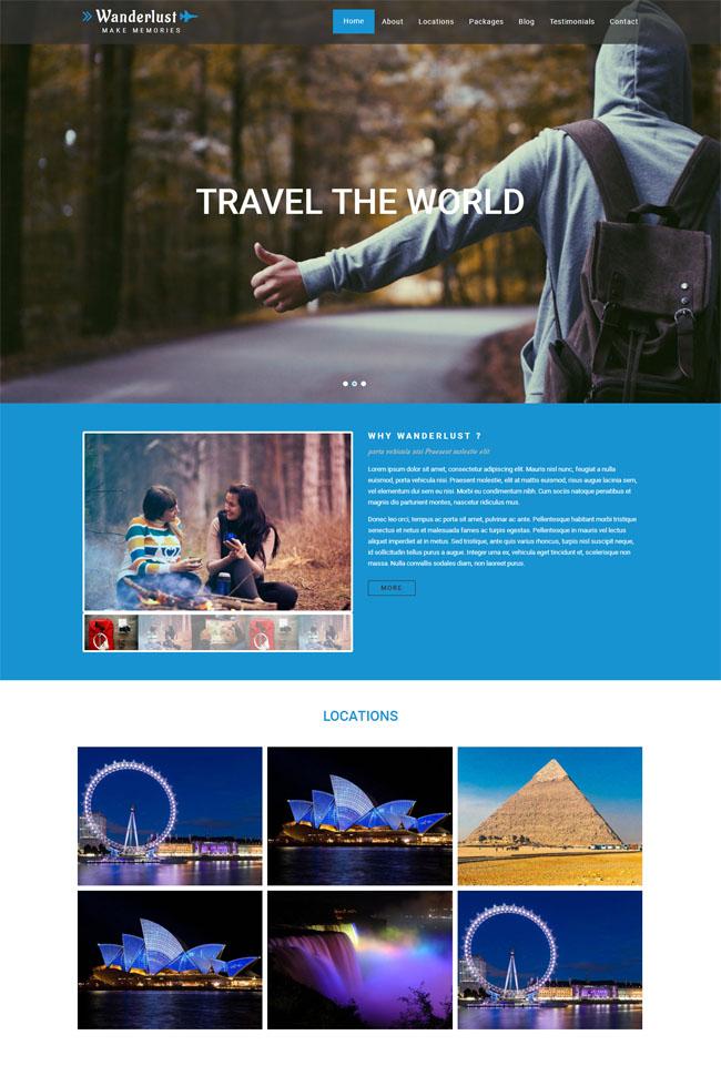 简约背包旅行摄影网站模块