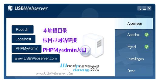 建站软件:USBWebserver 快速搭建本地PHP环境 WordPress网站维护 wordpress教程  第2张