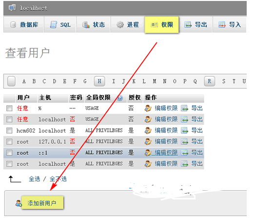 phpMyAdmin教程 之 创建新用户/导入/导出数据库 WordPress网站维护 wordpress教程  第1张