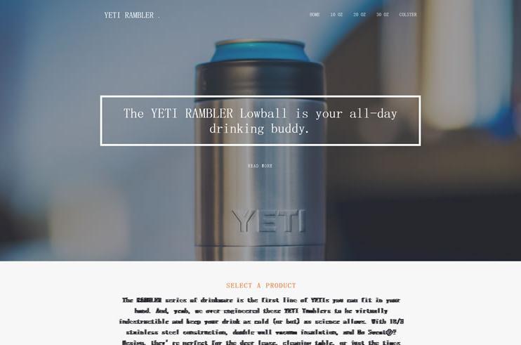 YETI RAMBLER HTML5自适应网页-外贸营销型产品单页网站建设