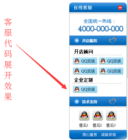 360Shop官方网站首页右侧在线客服代码效果