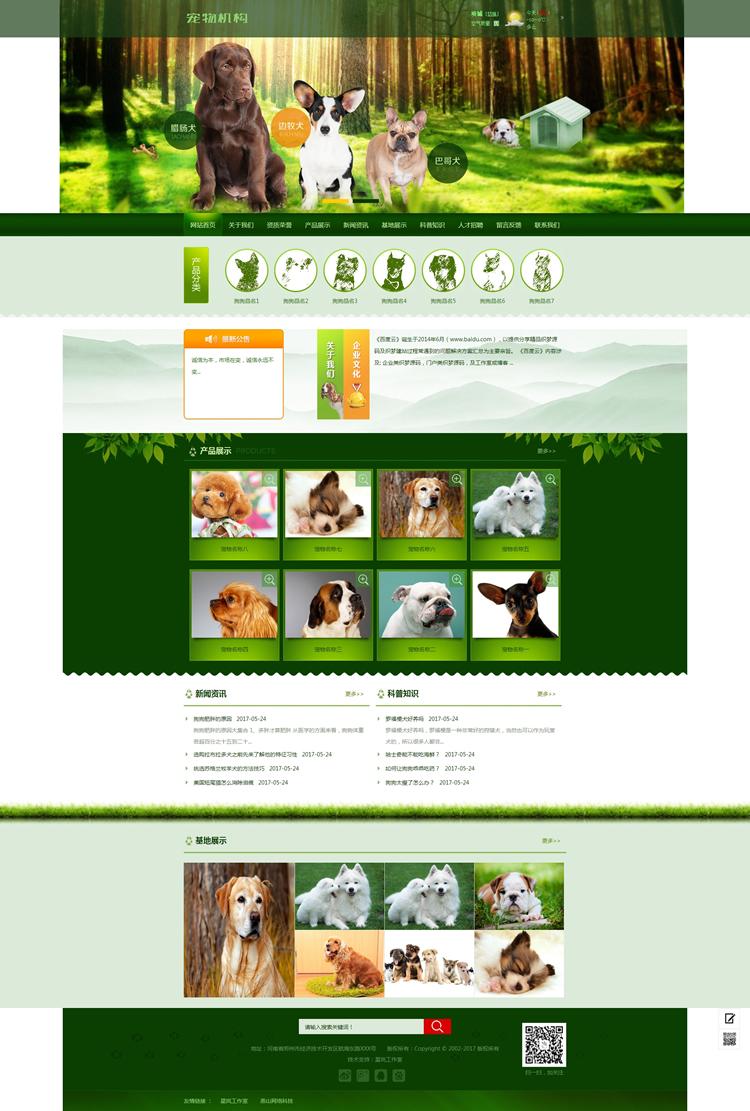 绿色宠物狗机构类网站织梦模板(带手机端).jpg